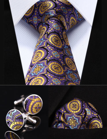 Party Wedding Classic Pocket Square Tie Purple