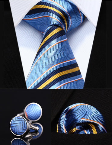 "Blue Yellow Striped 3.4"" Silk Men Tie Necktie"