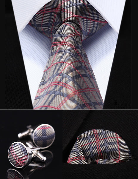"Classic Pocket Square Tie Gray Pink Check 3.4"" Silk Men Tie"