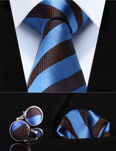 "Blue Brown Striped 3.4"" Silk Men Tie Necktie"