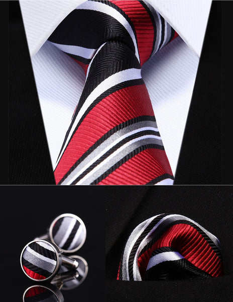 "Red Black Striped 3.4"" Silk Men Tie Necktie"