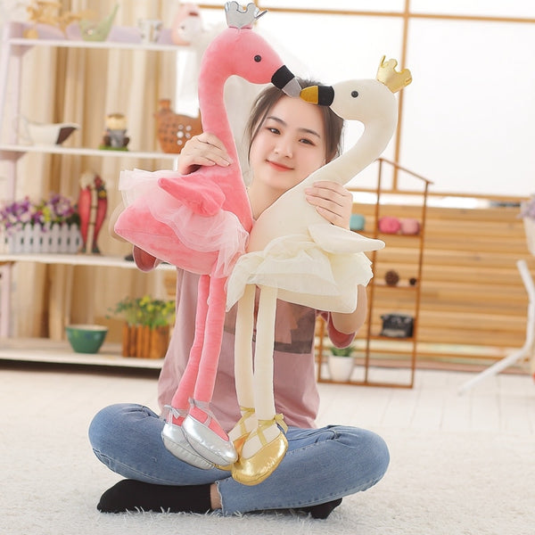 Cute Swan with Crown Plush Toy Stuffed Animal Flamingo Doll