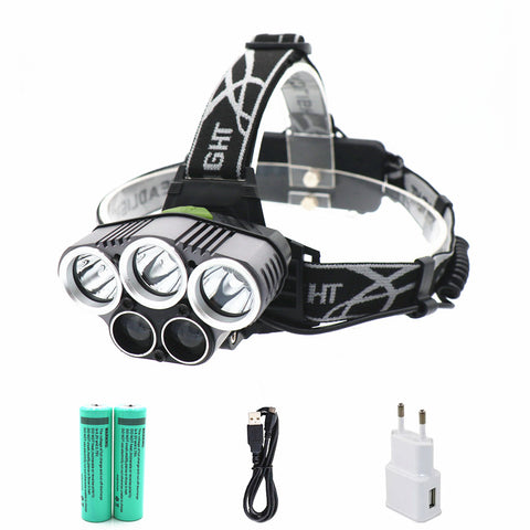 18000 lumens 5 led USB headlamp 3*T6+2*Q5 headlight