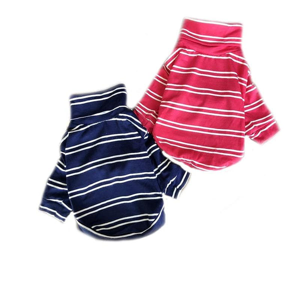 Summer Spring Pet Dog Cat Long Sleeve Striped High Collar Clothes