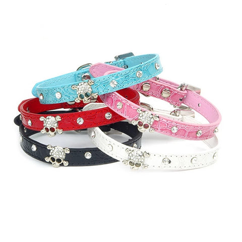 Leather Dog Collar Rhinestone Puppy Buckle Puppy Pet Collars