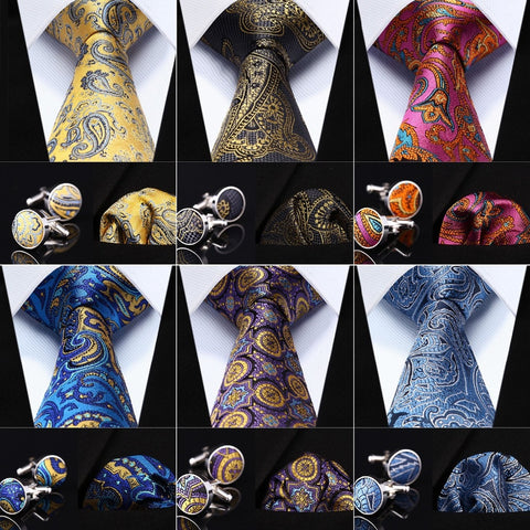 "Gold Gray Paisley 3.4"" Silk Men Tie Necktie"