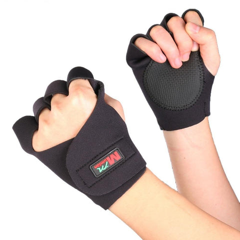 1 Pair Sports Fitness Cycling Hand Finger Brace Support Wrap Gloves - Black
