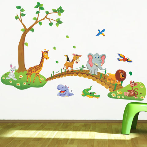 3D Cartoon Jungle wild animal tree bridge lion Giraffe elephant birds flowers wall stickers