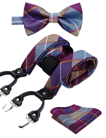 Check&plaid Various Classic Braces 6 Clips Suspenders