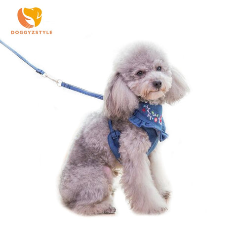 Denim Dog Harness and Leash Embroidered Jeans Pet Vest