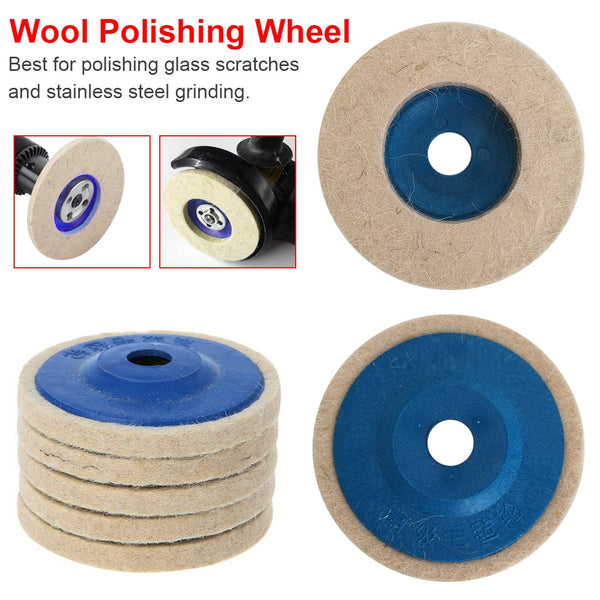 5pcs 4 Inch Wool Polishing Pads Buffing Angle Grinder Wheel