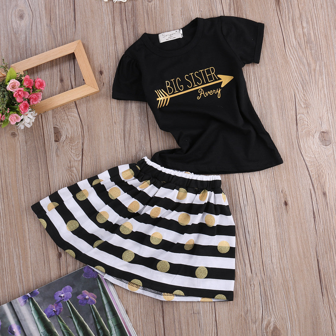 Cute Baby Girl Clothing Set For The Summer Big Sister T Shirt