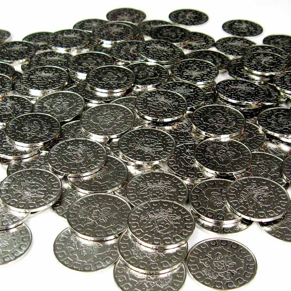 Silver Pirate Coins in Varying Quantities