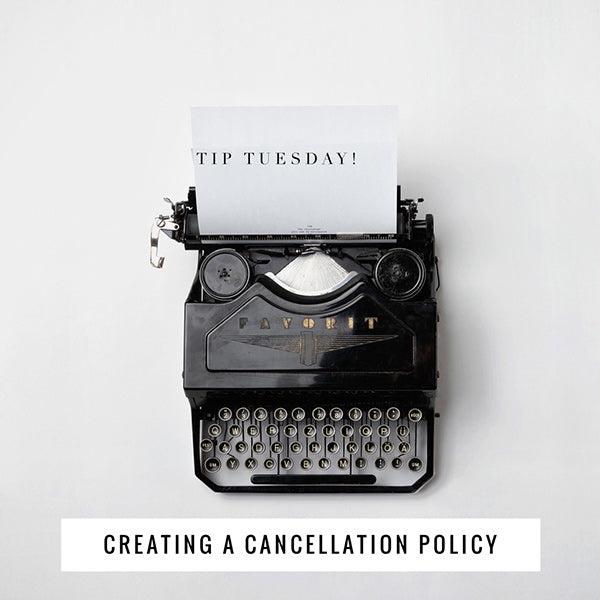 Typewriter typing a cancellation policy