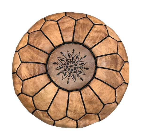 Genuine Leather Hand-stitched Pouf (Natural with dark stitching)