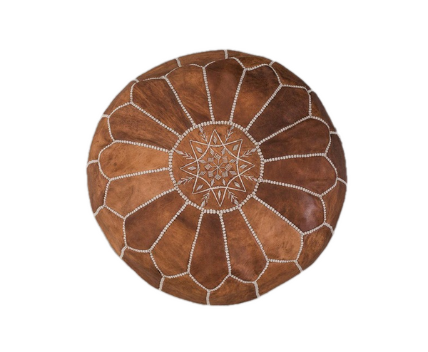 Genuine Leather Hand-stitched Pouf (Natural- Oiled)