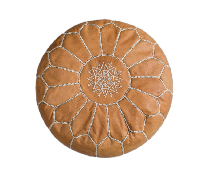 Genuine Leather Hand-stitched Pouf (Natural)