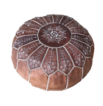 Genuine Leather Hand-stitched Pouf