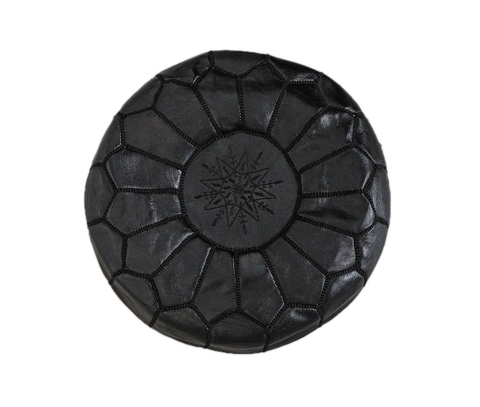 Genuine Leather Hand-stitched Pouf (Black)
