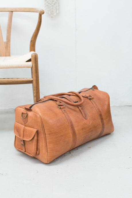 Leather Weekender Duffle Bag