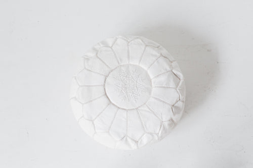 Genuine Leather Hand-stitched Pouf (White)