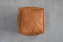 Genuine Leather Hand-stitched Pouf - Square