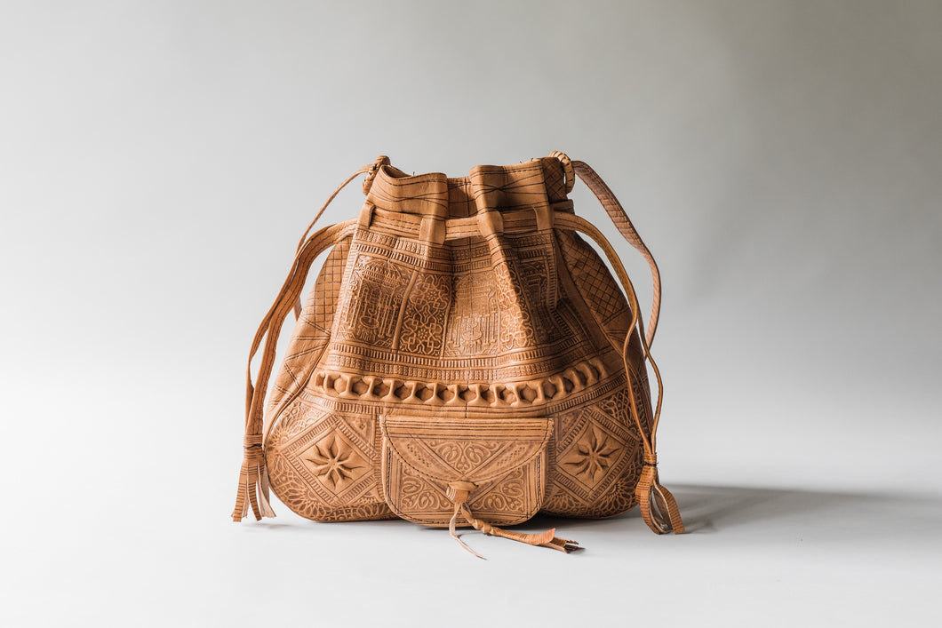 Embossed Leather Bucket Bag (Tan)