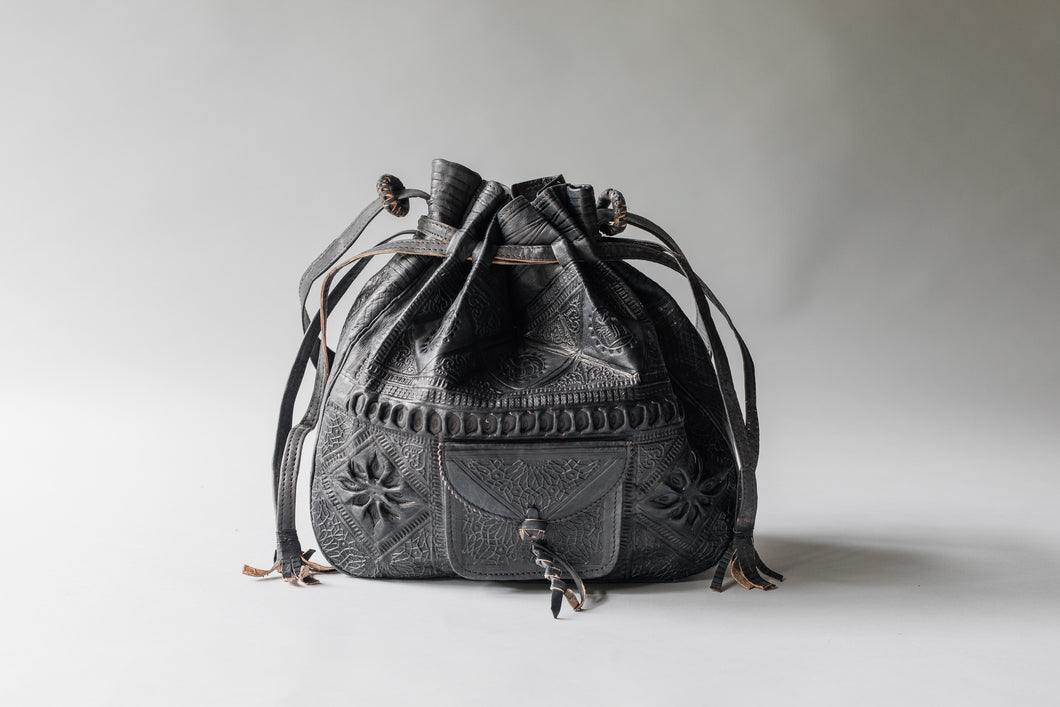 Embossed Leather Bucket Bag (Black)