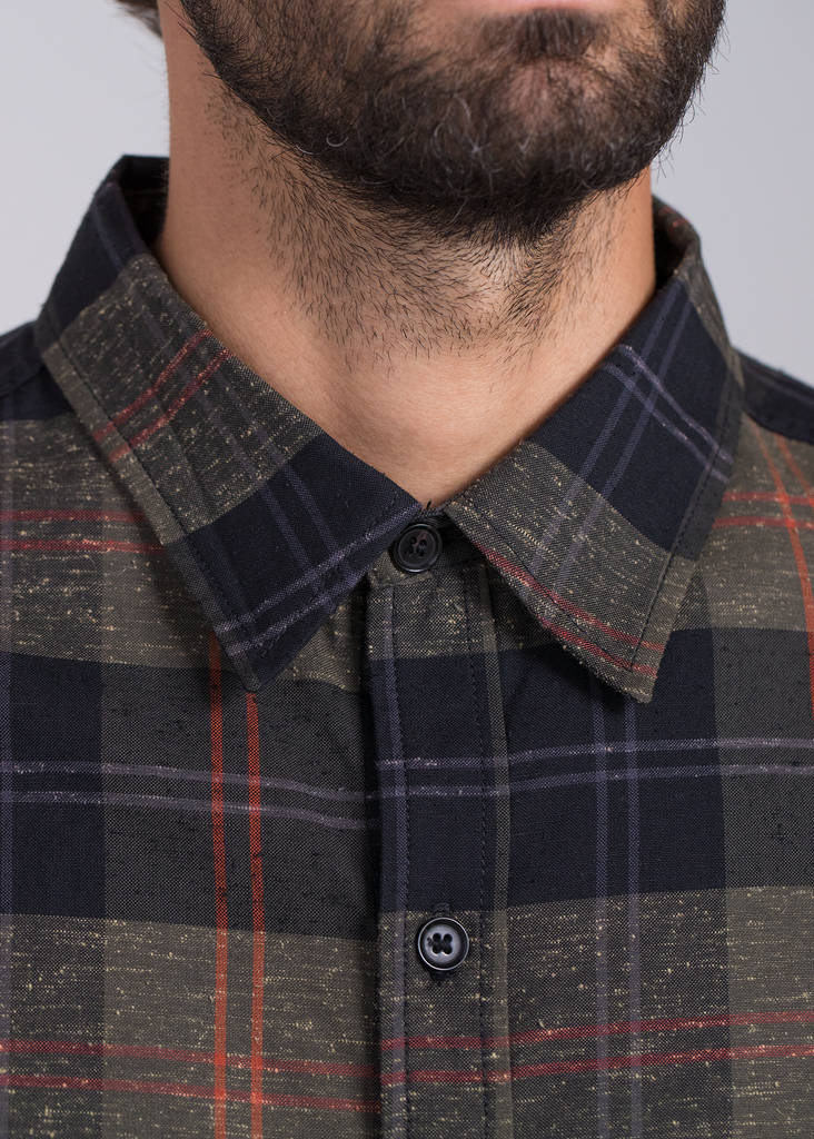 Green Plaid Button Down  Shirts - Arcady