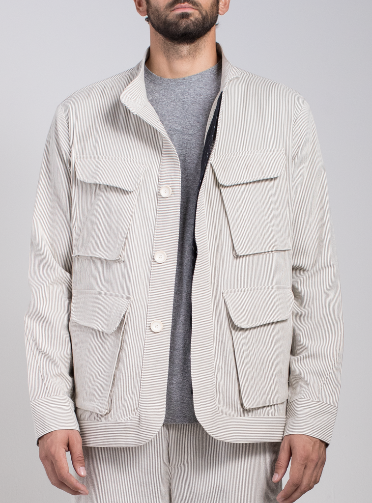 Micro Stripe Safari Jacket  Outerwear - Arcady