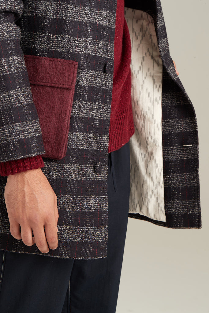 Plaid Contrast Pocket Overcoat  Outerwear - Arcady