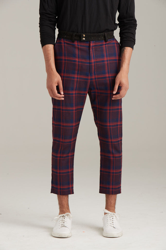 Red Plaid Cropped Pant  Bottoms - Arcady