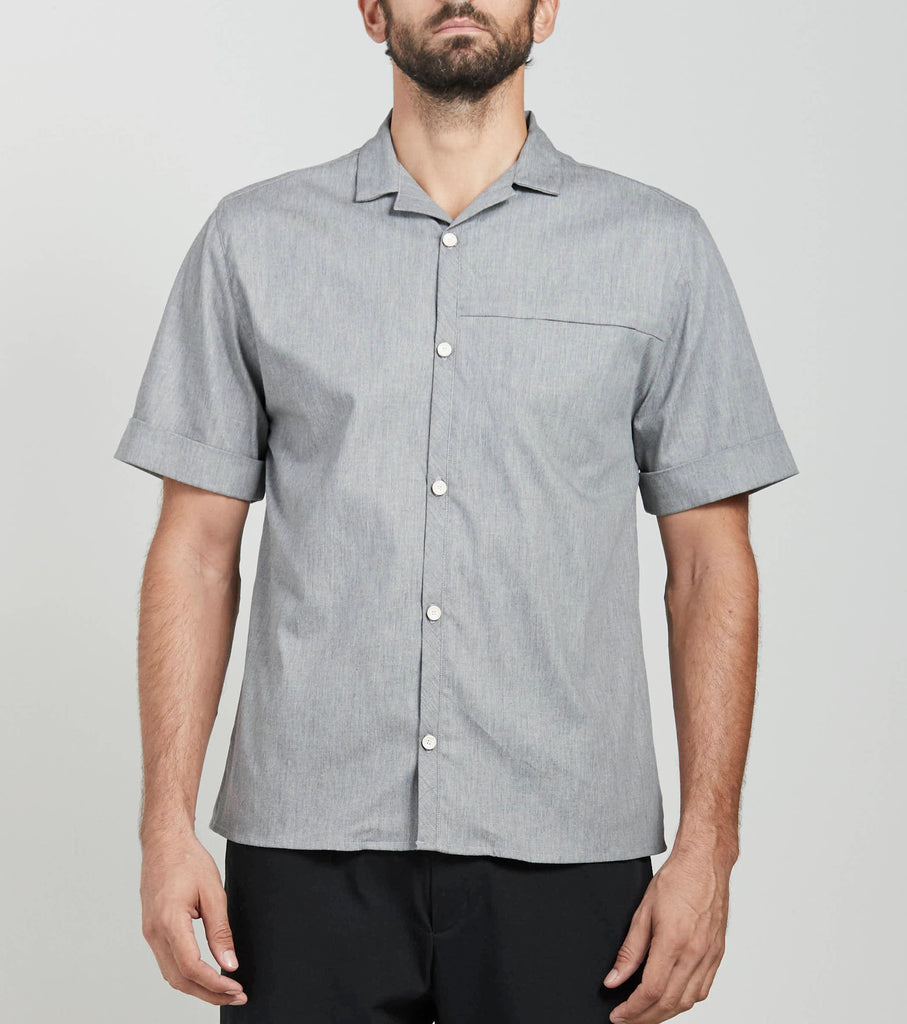 Heather Open Collar Shirt  Shirts - Arcady