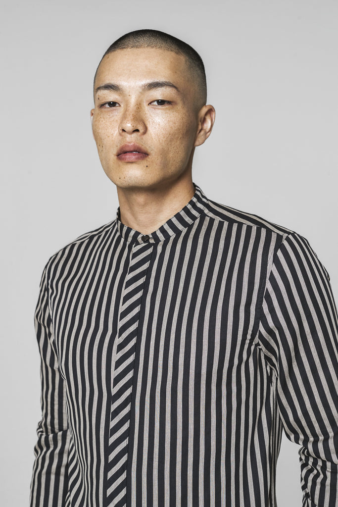 Notori Striped Mandarin Collar  Shirts - Arcady