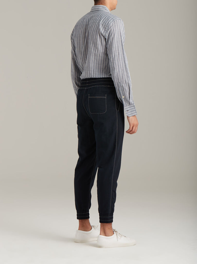 Navy Tapered Woven Trousers  Bottoms - Arcady