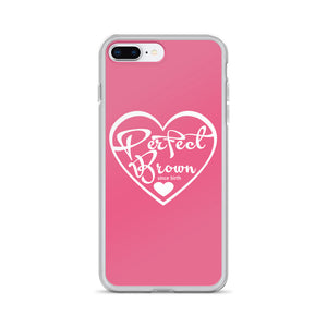 Perfect Brown Logo iPhone Case (Pink)
