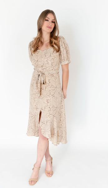 Long flowy stamped dress