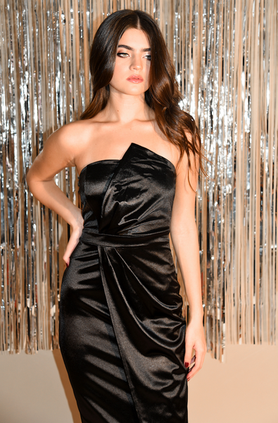 Strapless Satin Black Dress