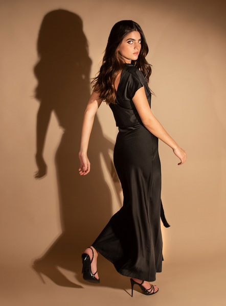 Satin Long Dress Black