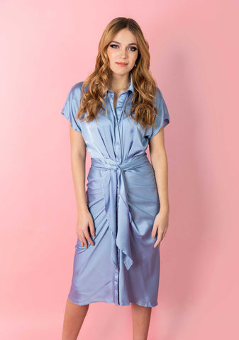 Misty Blue Satin Shirt Dress