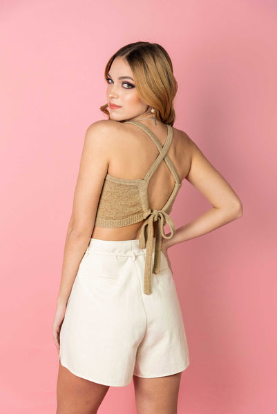 Camel Tie Back Top