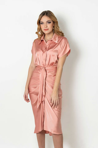 Misty Pink Satin Shirt Dress