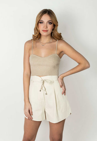 Beige Basic Cropped Top