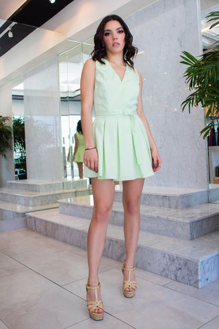 Belted Ruffle Mint Dress