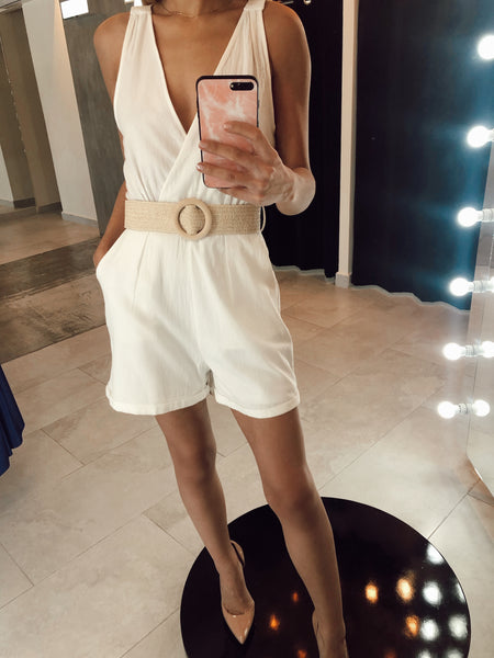 White Romper With Belt