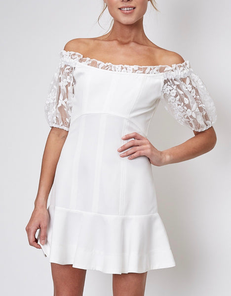 White Lace Sleeves Dress