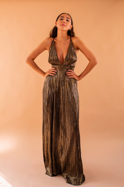Metallic Bronze Long Dress
