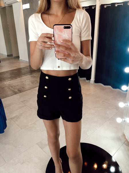 Black Shorts With Buttons