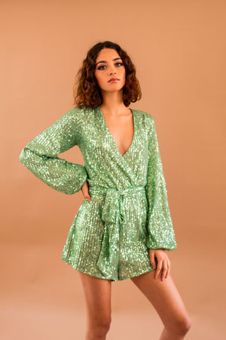 Sequin Romper Mint