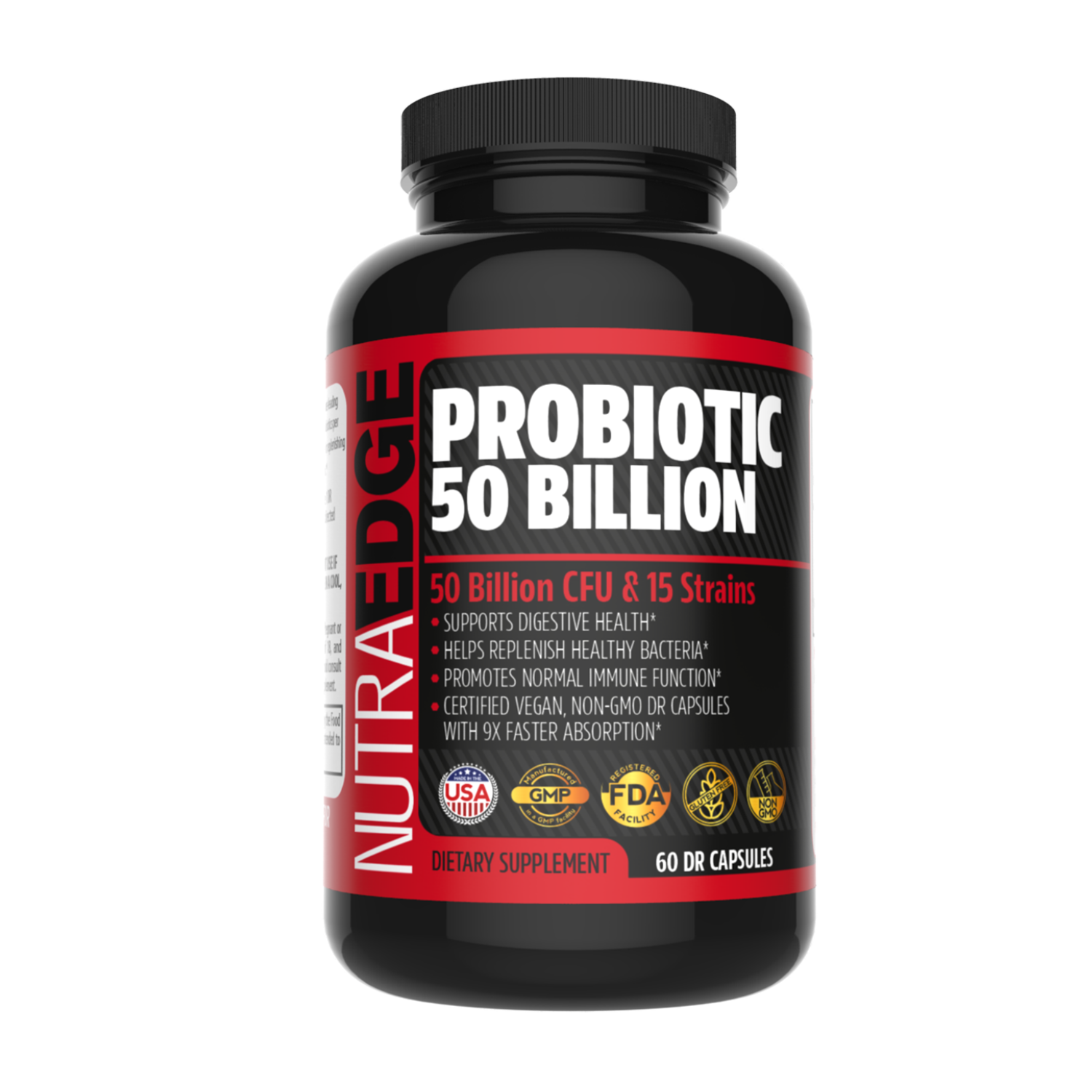 Probiotic 50 Billion CFU & 15 Strains, 60 Daily DRcapsTM Capsules - 9X Faster Absorption, Supports Digestive Health & Immune Function, Helps Replenish healthy Bacteria, certified Vegan, Non-GMO.